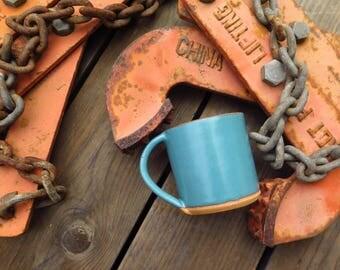 Small Handmade Mug LIMITED EDITION Glazed in Montara Teal, Coffee Cup, Tea Cup, Handmade Pottery, Stoneware Ceramic Mug