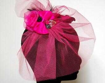 Bibi ceremony with raspberry veil and Black Lace, wedding Hat