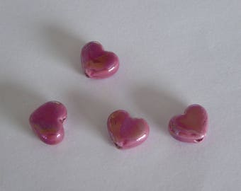1 heart ceramic Greek 12 x 10 mm pink