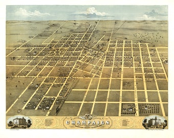 Champaign IL Panoramic Map dated 1869. This print is a wonderful wall decoration for Den, Office, Man Cave or any wall.