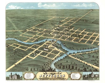 Jefferson WI Panoramic Map Dated 1870. This print is a wonderful wall decoration for Den, Office, Man Cave or any wall.