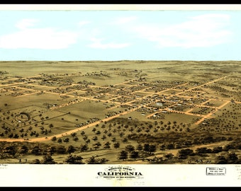 California MO Panoramic Map dated 1869. This print is a wonderful wall decoration for Den, Office, Man Cave or any wall seeking decor.