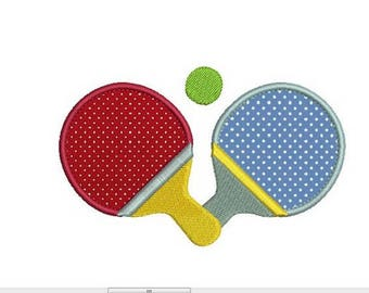 pair of tennis racket machine embroidery pattern