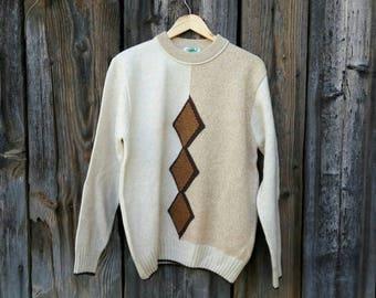 Vintage 90s Mens Pullover Beige size M