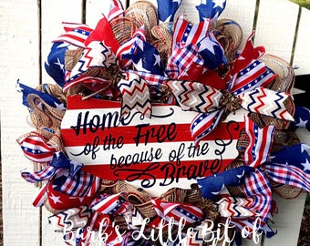 Patriotic Wreath, Rustic Patriotic Wreath, 4th of July Wreath, Americana Wreath, Stars and Stripes Wreath, Red, White and Blue Wreath