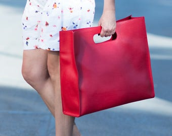 Red Leather Tote, Large leather bag, Leather Bag, Leather Tote, Handmade Leather Bag by EUG FASHION