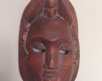 Hand Carved Indian Wood Mask Vintage