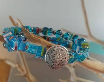 Wire beaded wrap bracelet - blue/multicolor