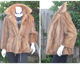 Genuine Blond Ranch Mink Fur Letout Coat Jacket 3/4 Sleeve Adjustable Waist S-S+ Perfect Condition!