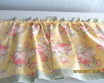 "Handmade Curtain Valance- Flowers - Soft yellow w/sage green accent  42"" x 13"""