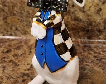 ON SALE White Rabbit, Alice In Wonderland White Rabbit, Easter Rabbit,Hand Painted Rabbit,Whimsical Black and White Check Jacket Rabbit,Spri