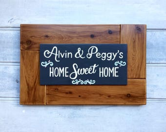 Home Sweet Home sign - Housewarming gift - Personalised sign - Couple's names - Wedding gift - Hand painted - Family sign - Custom order