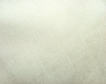 Off White Linen Look Lead Weighted Voile Net Muslin Curtain Fabric - Extra Wide 300cms