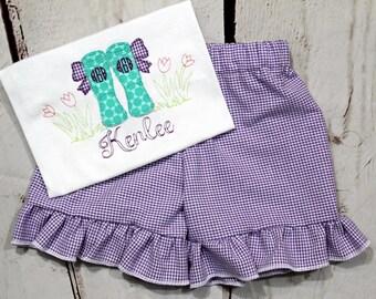 Girls Bow Rain boots Shirt- Monogrammed Rain Boots Shirt- Toddler Girls- Floral Shirt- Gingham- Baby Girl- 6m, 12m, 18m, 2t, 3t, 4, 5, 6 8