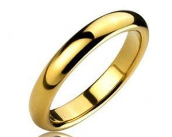 3mm 18k Gold Plated Tungsten Carbide Men's /Women's Wedding Ring Band - Comfort fit