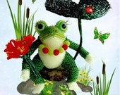 """Pattern / Tutorial Beaded Ornament - Master class for creating """"Frog"""""""