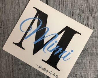 Initial Monogrammed Vinyl Decal - Name Decal - Sticker