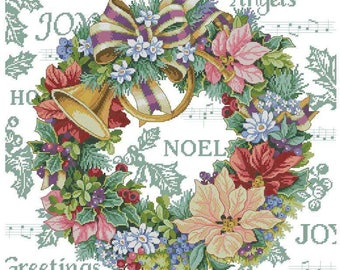 Christmas wreath, Bells   Cross Stitch Pattern   Needlepoint Chart   Instant download