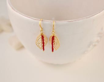 Leaf earrings with red ruby beads