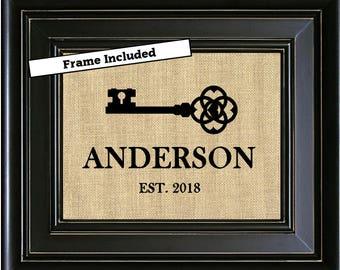 FRAMED Personalized House Warming Gift Personalized New Home Gift Housewarming Gift Family Name Sign Skeleton Key Realtor Closing Gift
