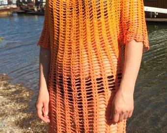 Crochet Orange Beach dress, Crohet openwork dress, lace crochet dress, Crohet cover up, Orange dress, Swimsuit dress, Crochet tunic