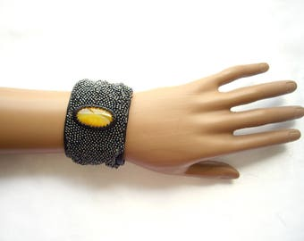 Leather cuff bracelet for women Black leather bracelet Leather embroidered bracelet Original cuff bracelet 3rd anniversary gift Yellow agate