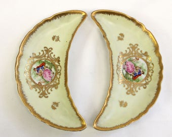 Lefton China Pair of Bone Dishes - Victorian, Couple, Gold Trim, Pastel Yellow. Table Setting - CHIN10010