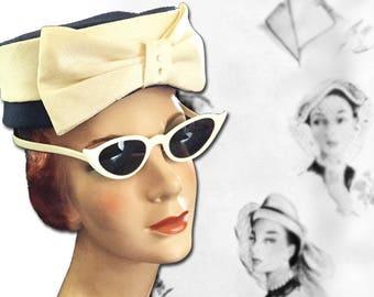 Vintage Retro Ivory Plastic Cats Eye Sunglasses