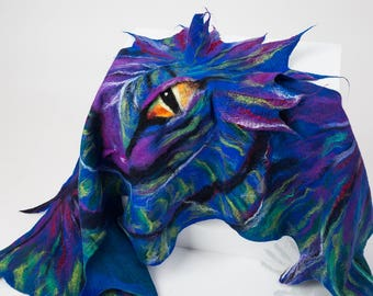 Dragon  shawl / Wings shawl / Silk scarf / Nuno felting / Handmade felted scarf / Merino wool / Scarf wings / Free shipping.
