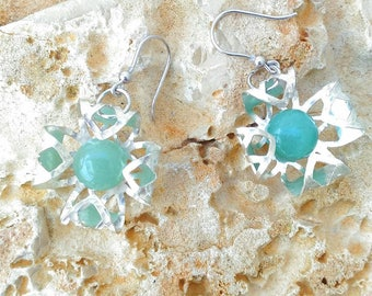 925 Silver earrings with aventurine