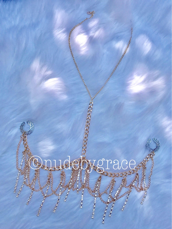 Non pierced nipple crystal bralette bralette jewelry for Pierced nipple stretching jewelry