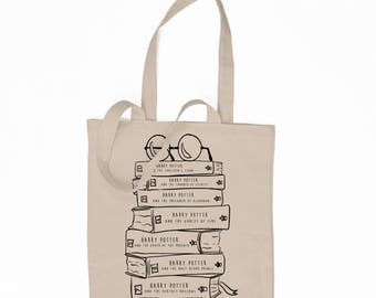 Harry Potter Book Lovers - Stack of Books - Harry Potter series - 6 oz. Canvas Tote bag