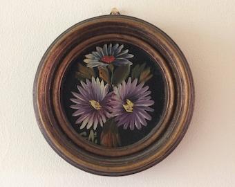 Vintage round framed floral flowers oil painting handpainted