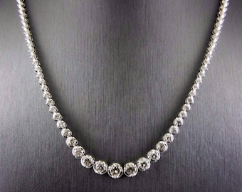 Fine Round Cut Graduated Diamond Lady's Tennis Necklace 18K White Gold 6.89Ct