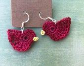 Crocheted Bird Earrings/ Red Bird Earrings/ Jewelry
