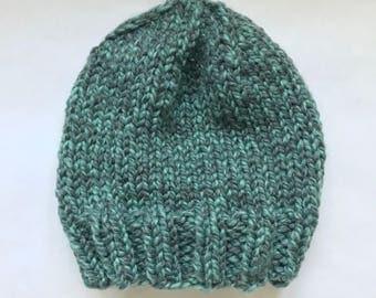 Oversized Chunky Wool Knit Beanie, Wool Beanie, Hand Knit Hat - Dark & Light Green (Adult)
