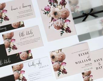 Wedding Invitation Suite - Formal Floral - Elegant - Classy - Black Tie Wedding - Printed invitations