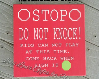 Do not Knock Sign, Reversible Sign, Homeschool Sign, Baby Sleeping Sign, Children Can Play Sign, No Knocking Sign, Kids no knocking Sign
