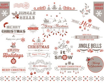 Digital Red and Grey Christmas Clip Art, Christmas Frame Clipart, Christmas Cards Invitation DIY, Christmas Scrapbook Embellishment 0362