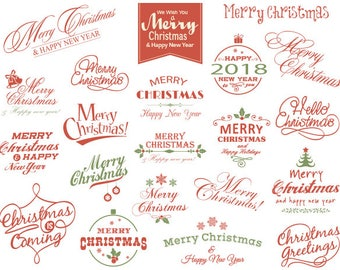 Digital Christmas Clipart Merry Christmas Photo Overlay, Red and Green Christmas Wording, Instant Download Red Green Christmas Clip Art 0359