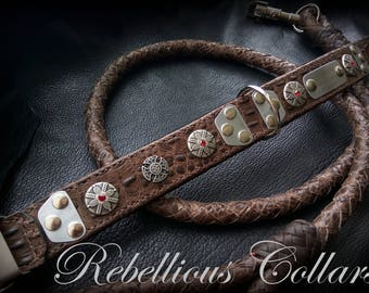 Leather dog collar with engraving tag