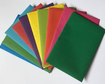 Plain coloured envelopes, pen pal, snail mail, love notes, stationery, set of 10