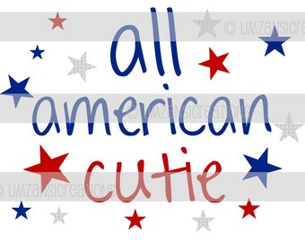 ON SALE! Digital Iron On - All American Cutie, 4th Of July, Independence Day, July Fourth, T-shirt Iron On, DIY Supply, Instant Download