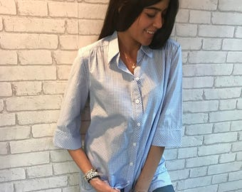 Button down shirt, womens blouse, 3/4 sleeve shirt- SIZE, 3 COLORS- XS,M Exsela