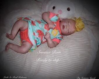 Reborn baby , Real Born, Summer Rain, 3 D Dewy skin, cut mouth , ready to ship!