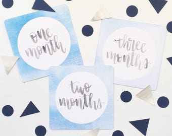 Blue Watercolour Monthly Baby Milestone Cards - One Month to Twelve Months - Newborn Photo Prop