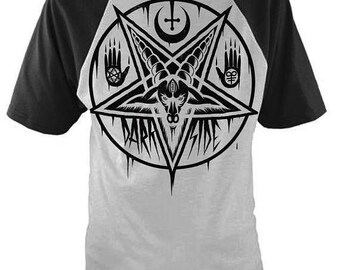 PENTAGRAM BAPHOMET Baseball T Shirt Occult Satanic Goth Emo