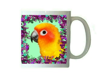 Sun Conure Parakeet Parrot Purple Floral Flowers 11oz Ceramic Coffee Mug