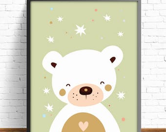 bear print, kids room decor, kids art room, nursery decor, nursery print, baby shower, baby print , baby decor, baby room, 4 SIZES INCLUDED