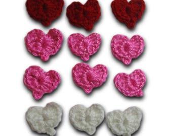 Set of 18 Hearts, Appliques, crochet hearts, multicolored heart, hearts embellishment, red crochet heart, Applique hearts, handmade hearts